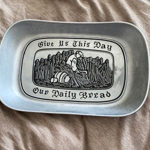Vintage Wilton Armetale Metal Bread Tray: give us this day our daily bread